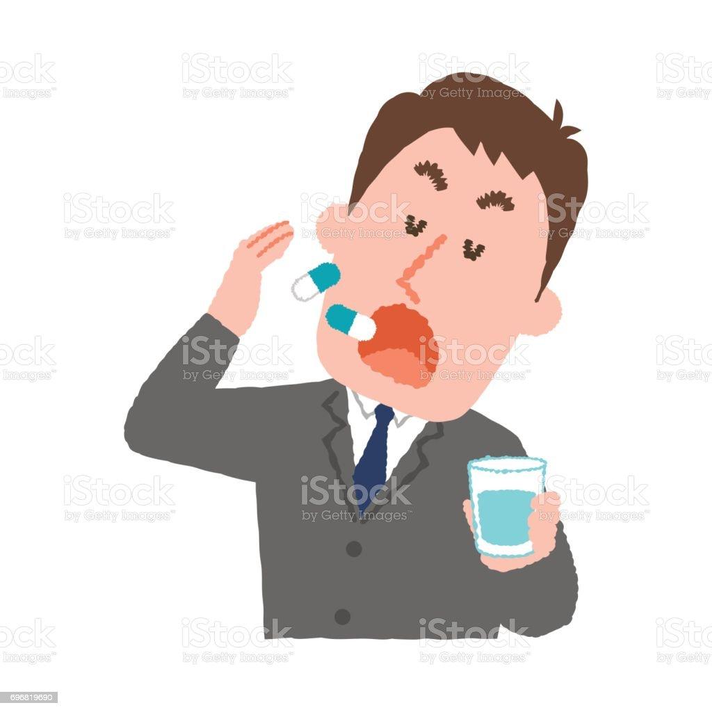薬を服用して実業家のベクトル イラスト ベクターアートイラスト