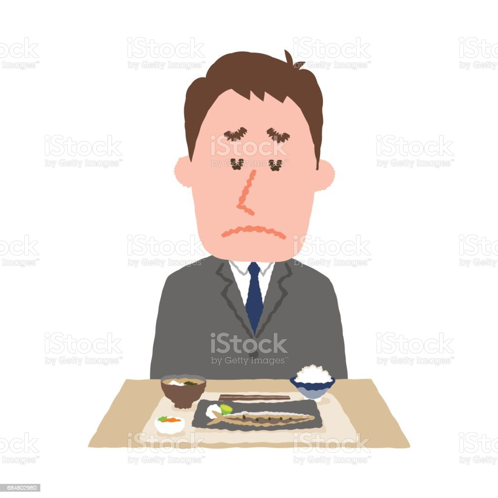 vector illustration of a businessman without appetite vector art illustration