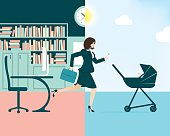 Vector illustration of a busy businesswoman and mum