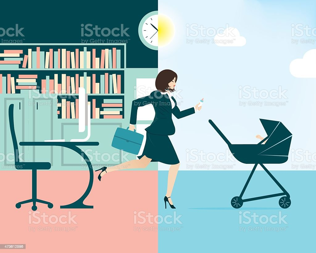 Vector illustration of a busy businesswoman and mum vector art illustration