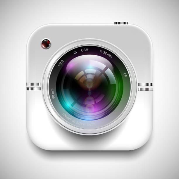 ilustraciones, imágenes clip art, dibujos animados e iconos de stock de ilustración vectorial de un icono de cámara - zoom meeting