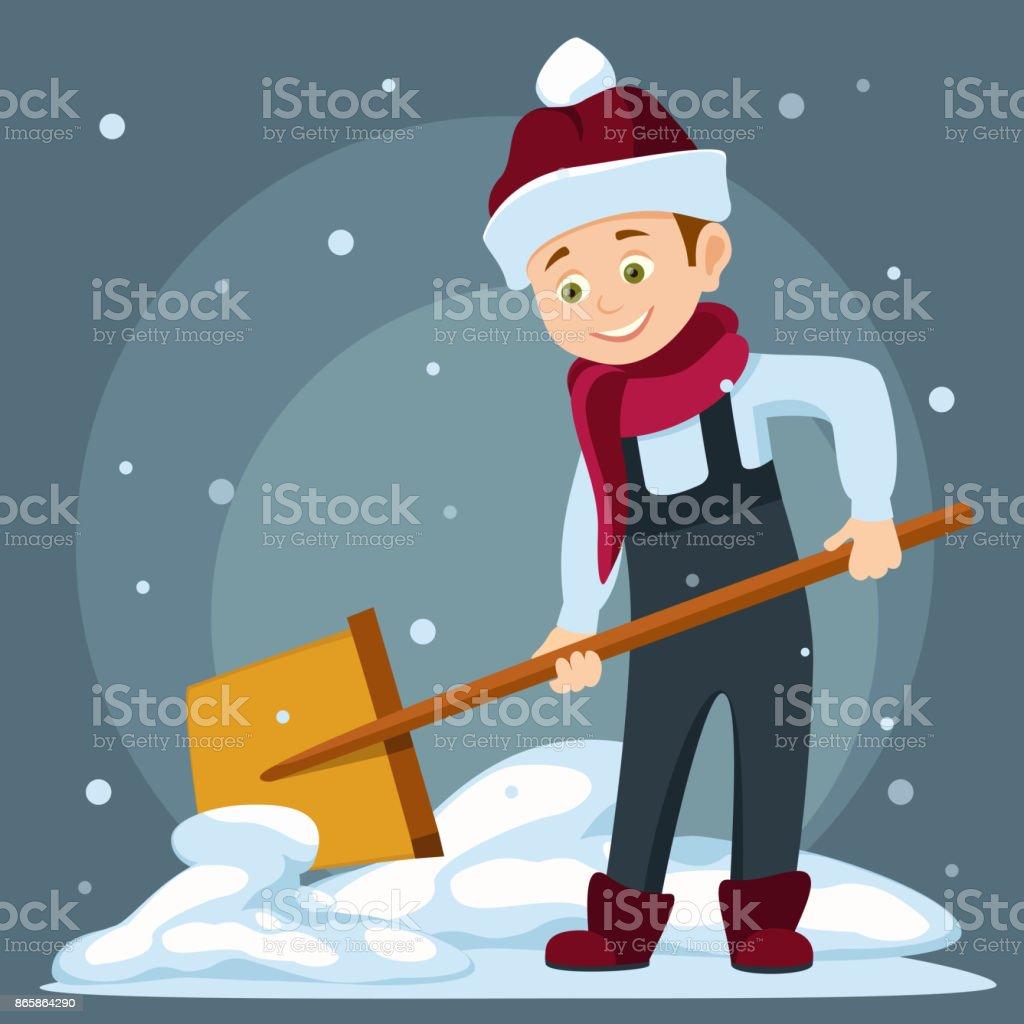 vector illustration of a cartoon boy cleans snow shovel vector art illustration
