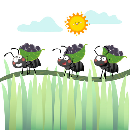 Vector illustration of a cartoon colony of black ants carrying berries and walking across the branch.