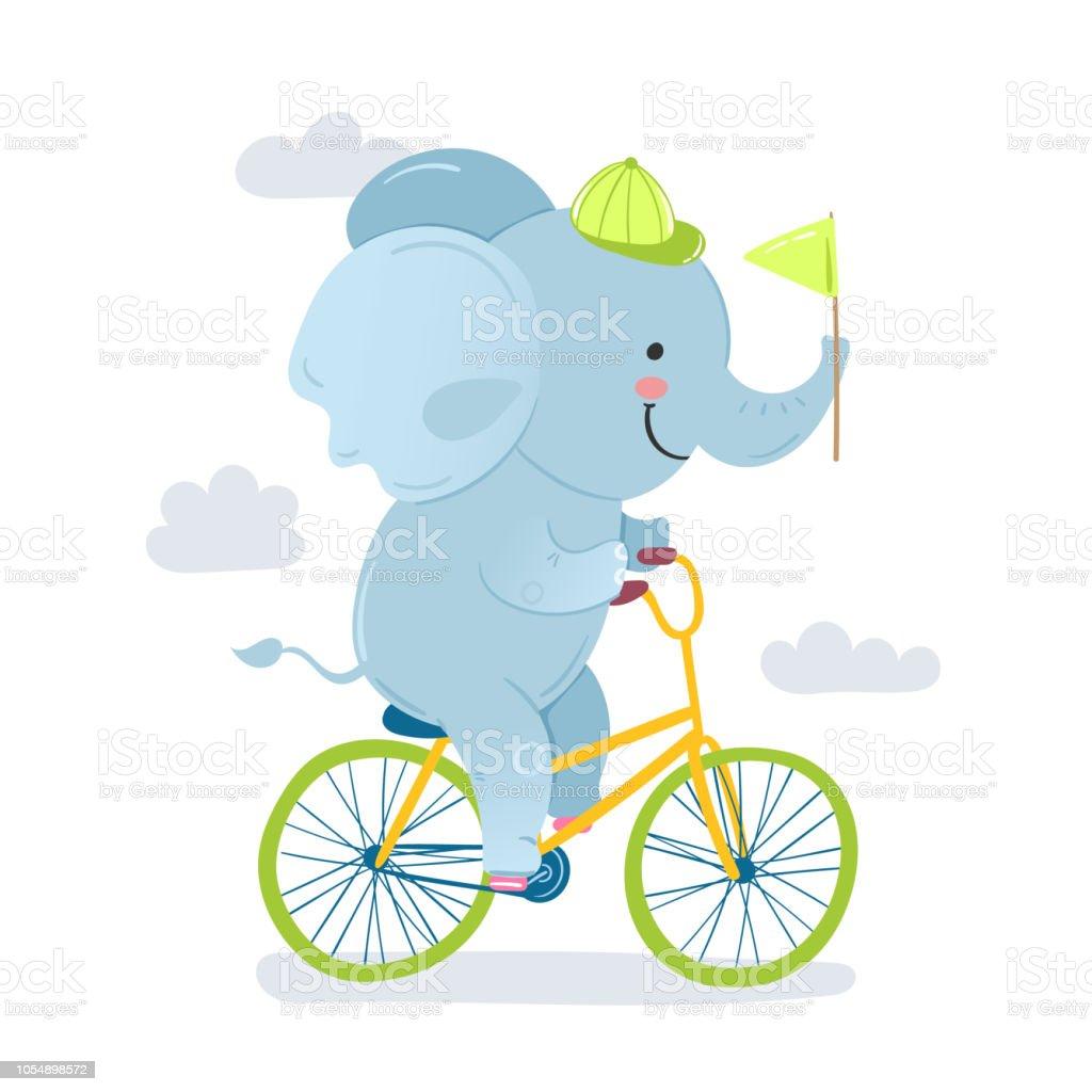 Vektorillustration Eines Cartoonelefanten Reiten Auf Einem