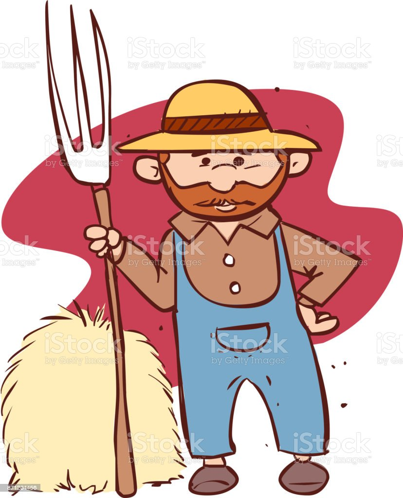 Vector ilustración de un granjero de dibujos animados sosteniendo un rak - ilustración de arte vectorial