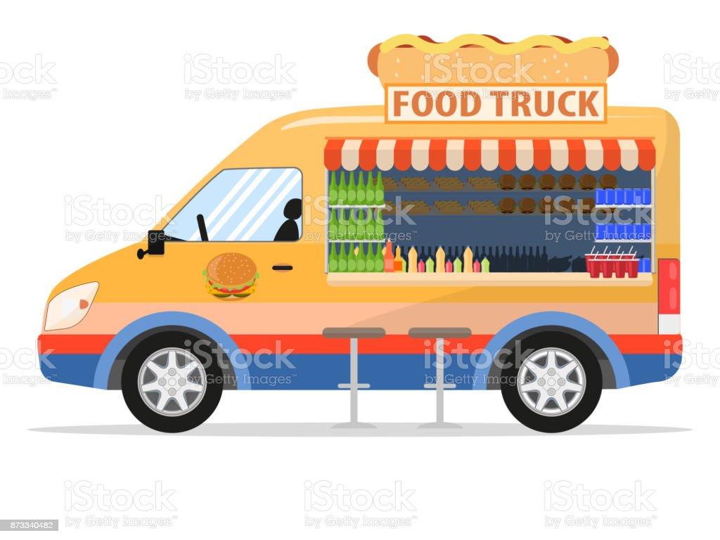 Illustration Vectorielle Dun Camion De Nourriture De Dessin