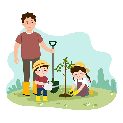 Vector illustration of a cartoon happy children helping their father planting the young tree. Family enjoying time at home concept.
