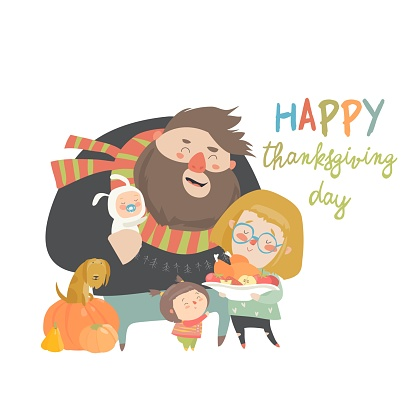 Vector illustration of a cartoon happy family celebrating Thanksgiving Day