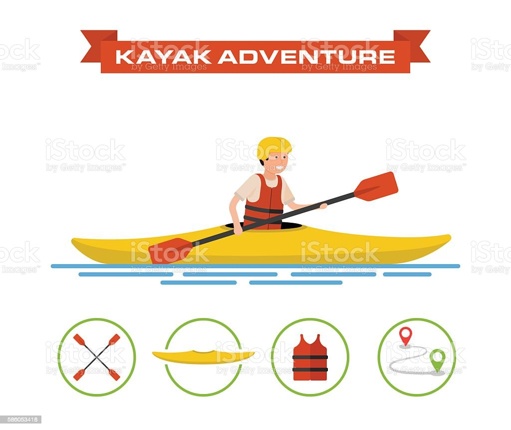 Vector illustration of a cartoon kayaker. vector art illustration