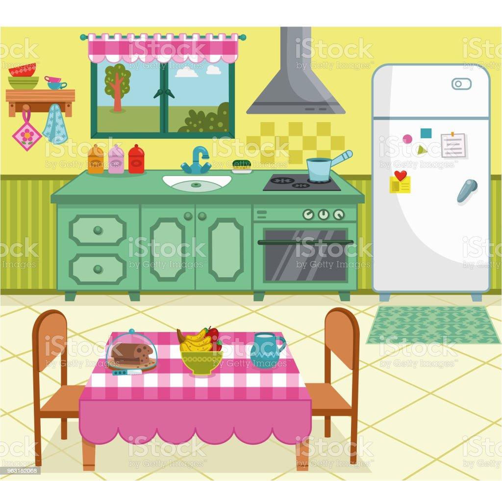 Vektorillustration Einer Cartoonküche Für Den Allgemeinen Gebrauch ...