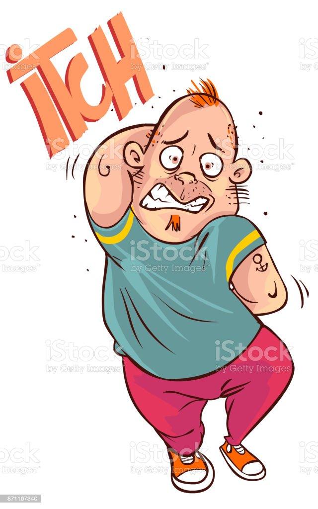 vector illustration of a  cartoon man scratching all over vector art illustration