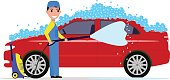 Vector illustration of a cartoon man washes a car