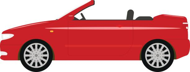 Vector illustration of a cartoon red car cabriolet Vector illustration of a cartoon red car cabriolet. Isolated white background. Flat style. Auto convertible side view. convertible stock illustrations