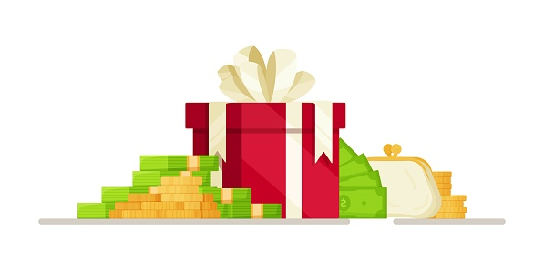 Vector illustration of a cash bonus. Drawing of money investment. A prize, a drawing in the form of money.