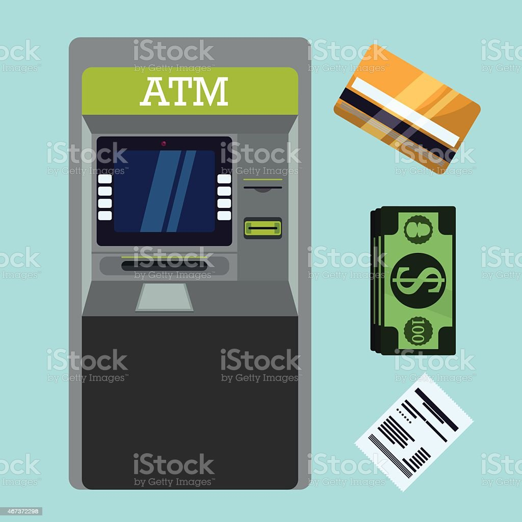 Vector illustration of a cash point machine and payment vector art illustration