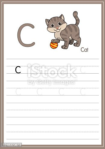 istock Vector illustration of a Cat isolated on a white background. With the capital letter C for use as a teaching and learning media for children to recognize English letters Or for children to learn to write letters Used to learn at home and school. 1248320673