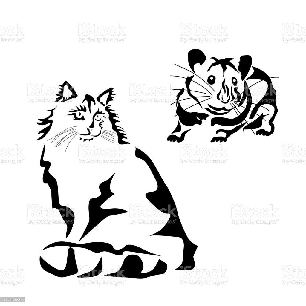 vektorillustration einer katzeschablone tattoo stock vektor art und