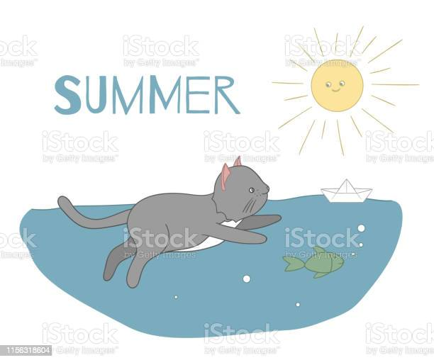Vector illustration of a cat swimming in water with a fish and paper vector id1156318604?b=1&k=6&m=1156318604&s=612x612&h=vjr7zi2sizz he5gk90kjasfpl4nxoaujq69xl wn8s=
