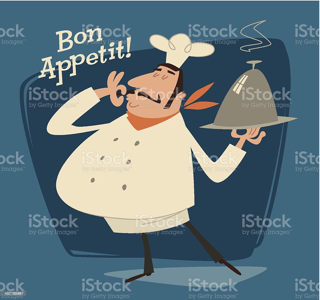 Vector illustration of a chef serving a dish vector art illustration