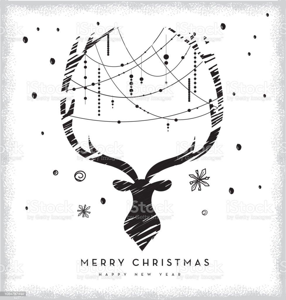 鹿の頭のデザインビーズと鹿の角の挨拶クリスマスのベクトル イラスト