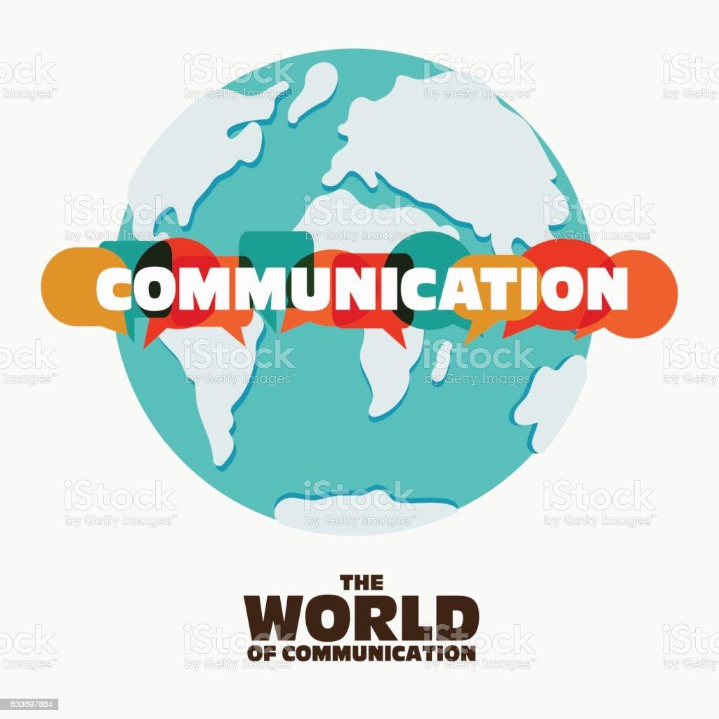コミュニケーション コンセプトのベクター イラストです。カラフルなダイアログのスピーチで「コミュニケーション」という言葉は、世界地図上泡 ベクターアートイラスト