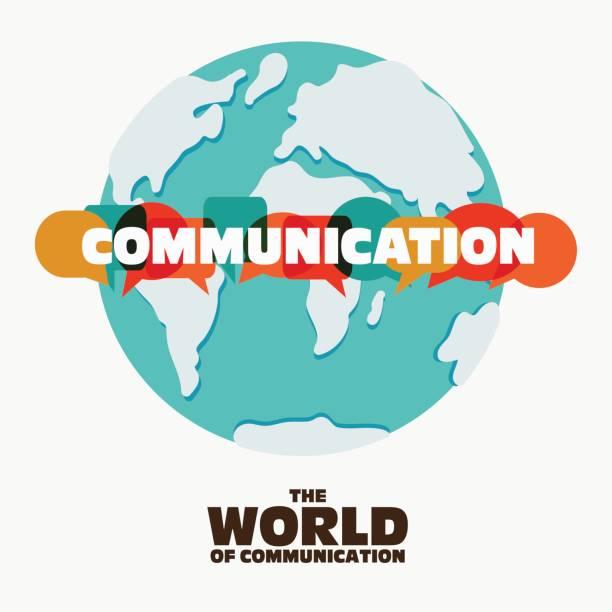コミュニケーション コンセプトのベクター イラストです。カラフルなダイアログのスピーチで「コミュニケーション」という言葉は、世界地図上泡 - 翻訳点のイラスト素材/クリップアート素材/マンガ素材/アイコン素材