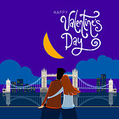Vector illustration of a couple on a bicycle in front of the London Bridge at Night. greeting card for Valentine's Day in a cartoon style