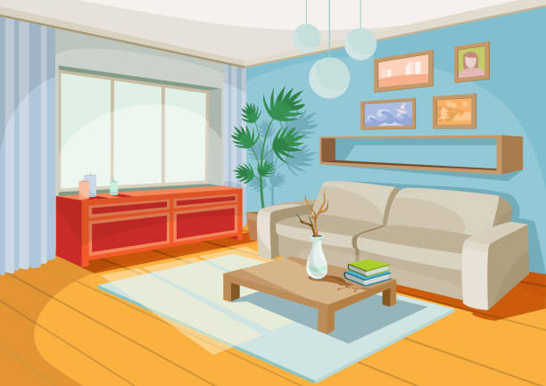 vector illustration of a cozy cartoon interior of a home room, a living room - living room stock illustrations, clip art, cartoons, & icons