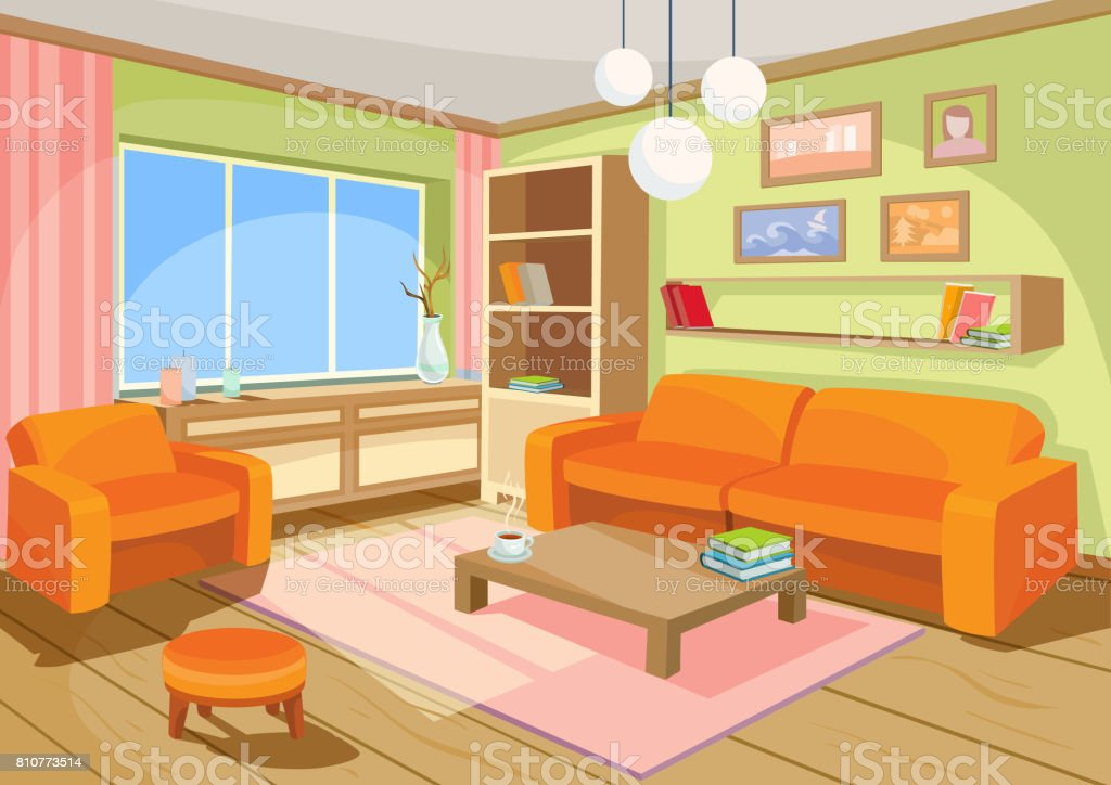 Vector Illustration Of A Cozy Cartoon Interior Of A Home