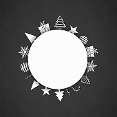A dark gray or black coloured vector illustration of a christmas background with a circle sun shaped patch at the right with objects like gift box, present, xmas tree, snowflake, baubles, stars, swirls, candy cane, and tree  made of geometrical shapes in the right, arranged beautifully all around the circle. Apt for Xmas, Christmas, New Year Day New year's eve, holiday, vacation, vacations  theme backgrounds, greeting card cards, poster and backdrop.