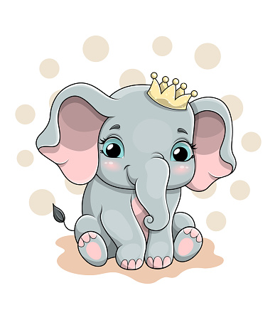 Vector illustration of a cute baby elephant with crown