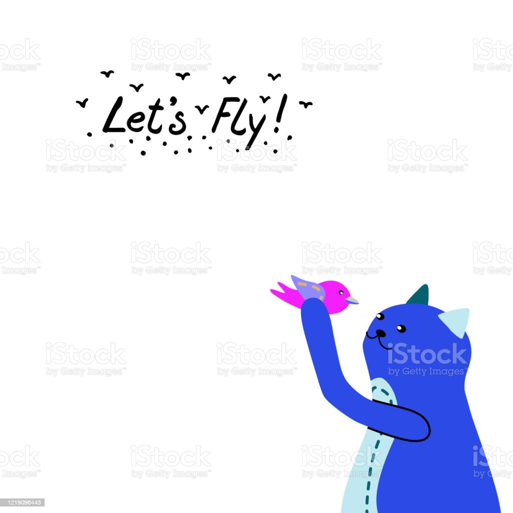 Vector Illustration Of A Cute Blue Cat In Profile The Animal Holds