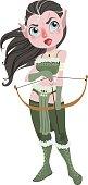 Vector illustration of a cute cartoon  archer girl sitting isolated