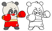 Little grey white panda athlete boxer character and his sketch