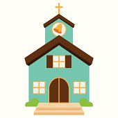 Vector Illustration of a Cute Church or Chapel