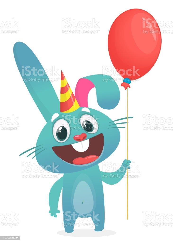 Vektorillustration Eines Niedlichen Lustige Hasen Halt Luftballon