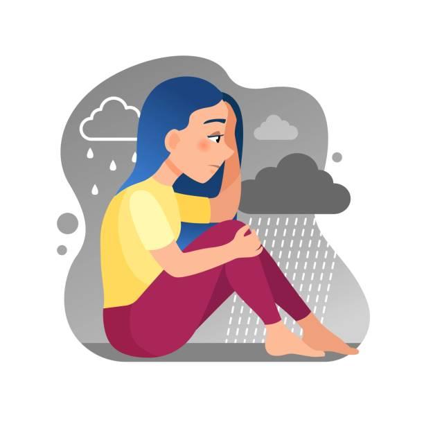 stockillustraties, clipart, cartoons en iconen met vector illustratie van een schattig meisje zitten in de regen. - zelfmoord