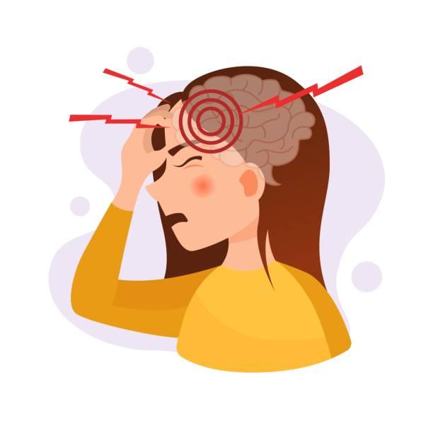 頭痛のかわいい女の子のベクトルイラスト。 - 頭痛点のイラスト素材/クリップアート素材/マンガ素材/アイコン素材