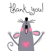 Vector illustration of a cute little mouse says thank you. Greeting card with a cute and funny rat.