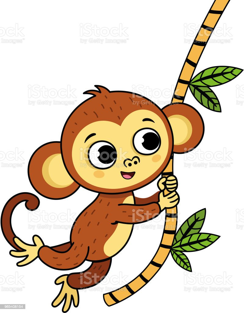 Vector illustration of a cute monkey with outlined version. royalty-free vector illustration of a cute monkey with outlined version stock vector art & more images of animal