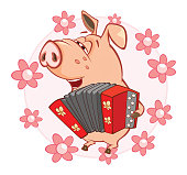 A little cheerful pink pig the musician on a white background with pink flowers