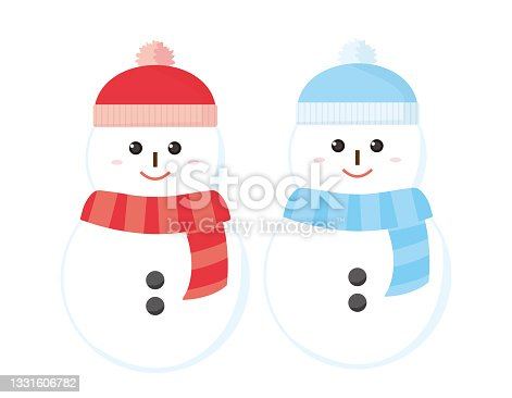 istock Vector illustration of a cute snowman. 1331606782