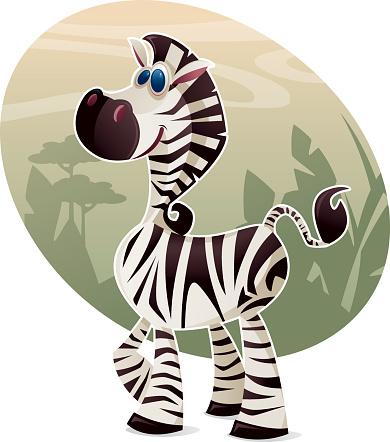A vector illustration of a cute zebra