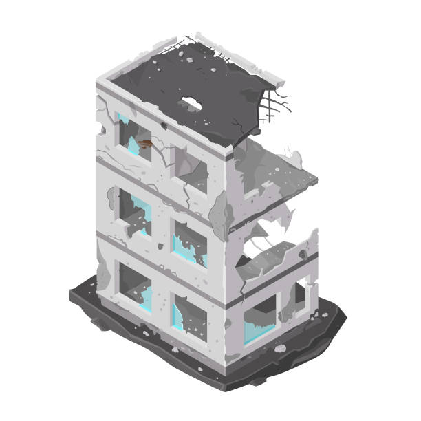 Vector illustration of a damaged building icon. Isometric building destroyed by war or a natural disaster - demolished architecture icon. demolished stock illustrations