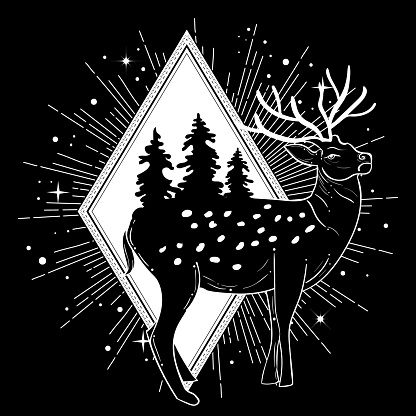 Vector illustration of a deer with landscape. Can be used for tattoo, greeting card, t shirt print, souvenir products and phone case.