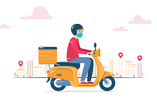Vector illustration of a delivery man, with face mask, delivering an order on a motorcycle