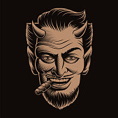Vector illustration of a devil's face smoking a cigar on a dark background. Ideal for T-shirt design