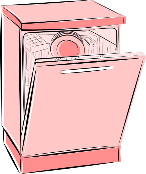 Dishwasher Clip Art ~ Royalty free dishwasher open clip art vector images