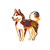 Vector illustration of funny dog, symbol of 2018 on the Chinese calendar. Drawing of hound, decorated with floral patterns, isolated on white background. Element for New Year's design. Image of 2018 year of Yellow Earthy Dog.