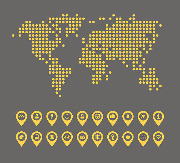vector illustration of a dotted world map with icon set - wayfinding icons stock illustrations, clip art, cartoons, & icons